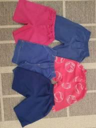 Bermudas, criança, coloridas, lisas, variadas, lote, infantil, roupas