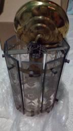 Luminaria Luz de teto em vidro Jateado Fumê antigo usado oferta aproveite