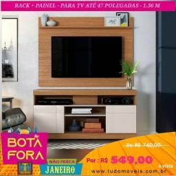 """BOTA FORA JANEIRO / Rack com Painel P/ TV até 47"""" 2 Portas"""