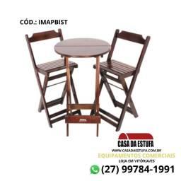 Conjunto Bistrô para Bar Madeira Imbuia com Duas Cadeiras