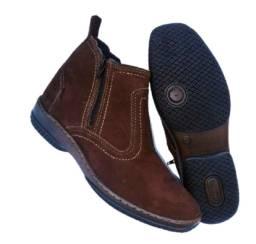botina couro legitimo solado costurado bota com ziper