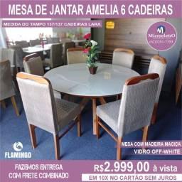 Mesa de Jantar Amelia 6 Cadeiras Lara medida do tampo 137/137