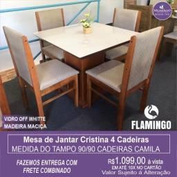 Mesa de Jantar Cristina  4 Cadeiras Camila medida do tampo 90X90