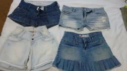 Shorts e saia jeans Tam 36/38