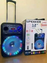Caixa de Som 5000W Bluetooth Microfone S/ fio e Controle Remoto! ?