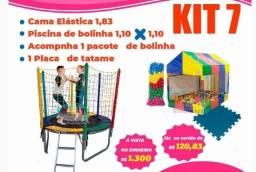Kit: Cama elástica  + Piscina de bolinhas + Bolinhas + Tatame Eva