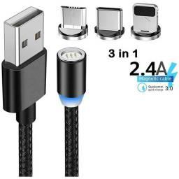 Cabo USB Magnético 3em1 em nailon reforçado luz led