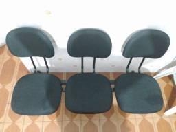 Cadeira de 3 Lugares Preta