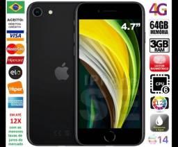 "IPhone SE 2ª Ger Black 64GB 6Core, 3GB Ram, Tela 4.7"", Câm 12MP, Novíss, Caixa, NF, Gar"