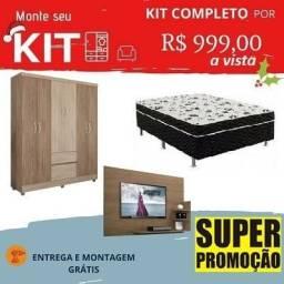 Preço Bom Demais!!Super Kit de Natal Mega Barato(Guarda Roupa+Cama+Painel)999,00