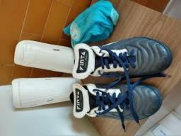Chuteira Finta Futsal + Caneleira + Meião ( semi novo) 01de0dd4661