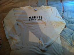 Camiseta Manga Longa Marines Tamanho M Cor Bege Ótimo Estado Impecável  Barbada! 7dbd2d713852c