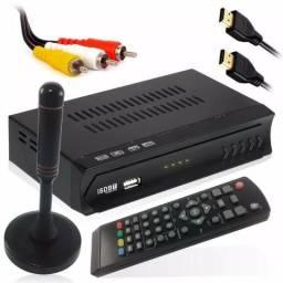 Kit Conversor Digital Full hd + Antena Digital Hdtv Gravador Novo Frete Grátis