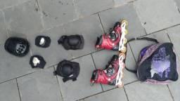 Kit de proteção completo + BÔNUS patins usado.