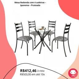 Mesa Redonda Vidro Ipanema com 4 cadeiras