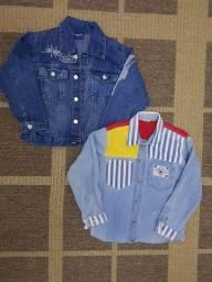 Camisas, lote, criança, jeans, infantil, roupas