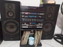 Toca discos vinil tape rádio 3x1