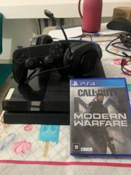 Ps4 com fone gamer e call of Duty mw