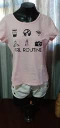 Título do anúncio: Blusa/camiseta Malha Rosa - Tam. G
