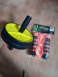 Título do anúncio: Kit roda Abdominal mais corda de pular