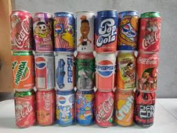 Conjunto de 21 latas de refri antigas e vazias