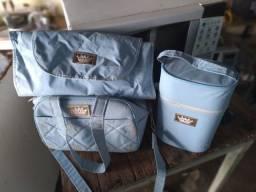 Kit bolsa,trocador e porta mamadeira azul