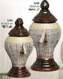 Vaso decorativo marron,duo