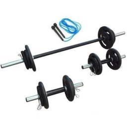 Kit Musculação Anilhas 40 kg + 3 Barras