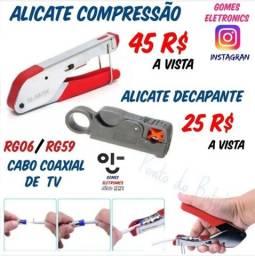 Alicate Compressão  para cabo coaxial de tv a cabo RG06 e 59 ( Loja Fisica 992 )