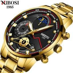 Relógio Masculino Nibosi 2503, lançamento. Dourado e prata