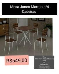 Mesa Junco Marron c/4 Cadeiras