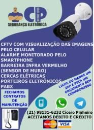 Câmeras de segurança, cftv, cerca elétrica, alarme, porteiro eletrônico, pabx, etc...