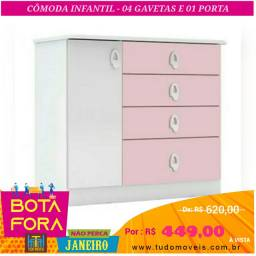 BOTA FORA JANEIRO / Comoda Infantil 1Porta 4Gavetas (montagem grátis)