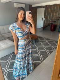 Vestido longo estampado novo