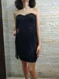 Vestido curto com franjas P