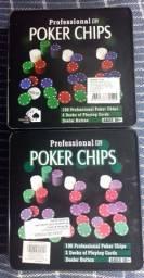 2 Kits Poker (100 fichas cada Kit), 2 baralhos e ficha Dealer - Bacará <br>