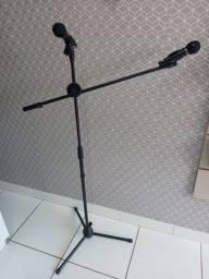 Pedestal duplo para 2 microfones