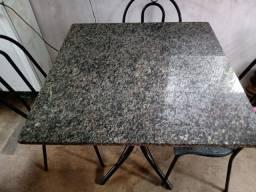 Mesa quatro cadeiras pedra mármore