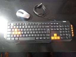 teclado gamer novo usb e mouse sem fio