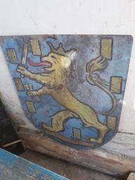 Placa antiga de madeira