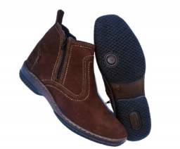 bota couro legitimo solado costurado botina cano medio
