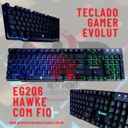 Chegou!!! Teclado Gamer Evolut Hawke Eg-206 Rb ABNT2 Backlight LED em 12x!