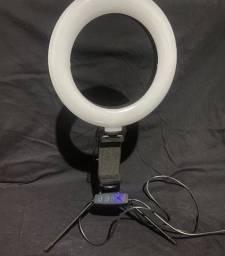Ring Light Led de Mesa Iluminador Pequena mini Tripé 6 Polegadas c/ suporte celular