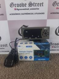 Relógio Digital Termômetro Automotivo LCD Voltimetro 2 USB