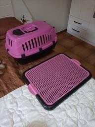 Kit Caixa transporte + xixi pet rosa para pequeno porte