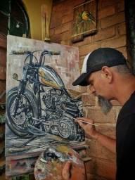 Óleo sobre tela Harley Davidson