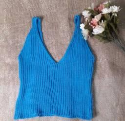 Croped tricô azul tam unico