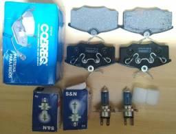 Pastilha de freio COBREQ e lâmpada h4 novos