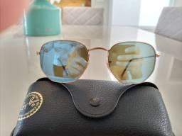 Óculos De Sol Ray-ban Hexagonal Lente Azul