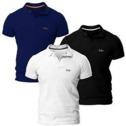 Kit com Três Camisas Polo Básica Piquet Regular - Polo Match